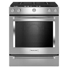 KitchenAid KSGG700ESS 30  Stainless Steel Slide In Gas Range 5 Burner Slide In