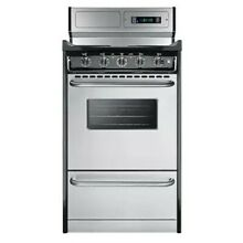 Summit TEM130BKWY 20  Freestanding Electric Range with Electronic Ignition  Cloc