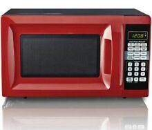 Microwave Oven 0 7 Cu Ft Red Countertop  Perfect for College Dorm w  6 Quicksets