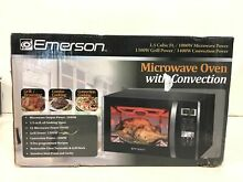 Emerson 1 5 cu  ft  1000W Countertop Convection Microwave Oven Stainless Black