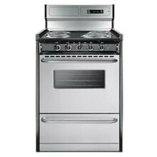 Summit TEM630BKWY 24  Freestanding Electric Range   Stainless Steel