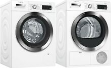 Bosch 800 Series Front Load Washer and Electric Dryer in White   Chrome Wi Fi