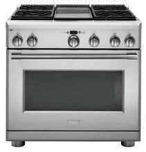 Monogram Professional 36  Dual Fuel Range 4 Burners with Griddle ZDP364NDNSS