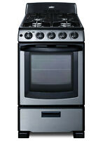 Summit PRO201 Stainless Steel 20 W 2 3 Cu  Ft  Free Standing Gas Range