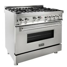 ZLINE 36 in Professional 46 cu ft 6 Gas on Gas Range Stainless Steel  RG36