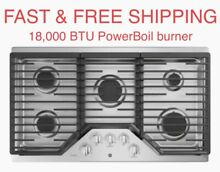 FREE SHIPPING New GE 36  Gas Cooktop Stainless 18 000 BTU PowerBoil Burners 5 19