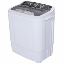 Mini Compact Twin Tub Washing Machine Washer 13lbs Spin Spinner Black  White New