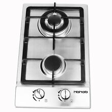 HBHOB 12 inches Gas Cooktop 2 Burner Stainless Steel Hob LPG Portable in outdoor