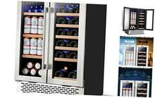 24 Inch Beverage and Wine Cooler Dual Zone  Wine Beverage Refrigerator 18 Bottl