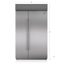 Sub Zero 48  Stainless Steel Classic Side by Side Refrigerator BI 48SID S PH