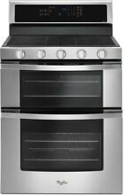 Whirlpool WGG745S0FS 6 ft  Gas Double Oven Range with EZ 2 Lift  Hinged Grates
