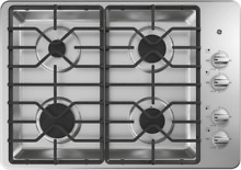 GE JGP3530SLSS 30  Gas Deep Recessed Cooktop with 4 Sealed Burners in Stainless