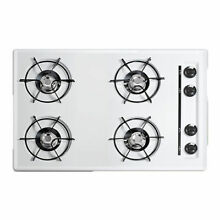Summit WNL053 White 30 Four Burner Gas Cooktop In White