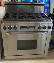 Stainless Steel Dacor 6 Burner Gas Stove Range With Electric Oven
