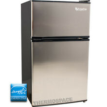 Mini Refrigerator   Freezer w  Reversible Stainless Steel Silver Fridge Doors