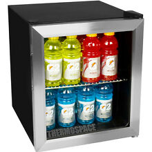 Compact Beverage Center Glass Door Refrigerator  Stainless Steel Mini Fridge NEW