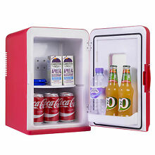 15L Portable Small Mini Fridge With Window For Bedroom  Mini Cooler In Red