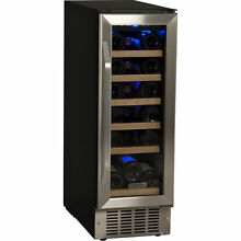 12  Compact Built In Wine Refrigerator   Stainless Steel Cooler w  Wood Shelves