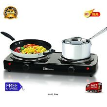 Black Electric Stove Top High Powered 2 Burners Cooktop Range Oven Hot Plate 7