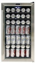 Beverage Cooler Refrigerator 120 Glass Door Stainless Black Commercial Compact