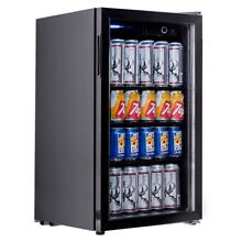 70W 120Can Home Beverage Mini Refrigerator Portable Machine w  Glass Door Hot