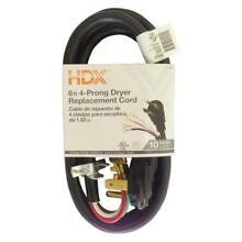 HDX 6 ft  Exito 4 Wire Black Vinyl Electrical Dryer Replacement Cord Old Power