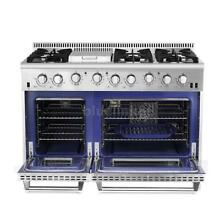 PRO 48  6 BURNER GAS RANGE GRIDDLE W  DOUBLE OVEN STAINLESS STEEL THOR G8O3