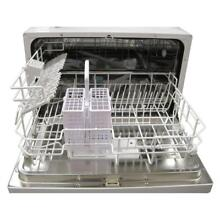White Countertop Portable Dishwasher Small Compact Sturdy  Easy To Use  Quiet