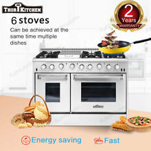48in Thor Kitchen Gas Range HRG4808U Double Oven Stainless Steel Griddle 6Burner