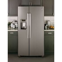 GE APPLIANCES 23 2 CU  FT  SIDE BY SIDE REFRIGERATOR Grey
