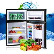 3 2 cu ft  Kitchen Compact Stainless Steel Refrigerator Fruit Food Freezer Black
