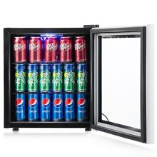 60 Can Home Beverage Mini Refrigerator Fridge with Glass Door Freezer Icebox US