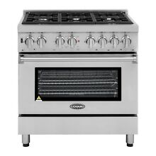 Commercial Style 36 in  4 5 cu  ft  Dual Fuel Range with 6 Italian Burners Cast