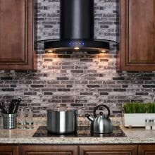 AKDY RH0205 30  Black Stainless Steel Wall Mount Range Hood Touch Control