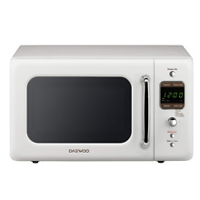 Daewoo KOR 7LREW Retro Countertop Microwave Oven 0 7 Cu  Ft  700W   Cream White