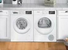 Bosch 300 Front Load Washer Dryer set White Stacking Kit WAT28400UC   WTG86400UC