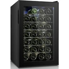 Wine Cooler Beverage Chiller 28 Bottles Refrigerator Cellar Bar Fridge LED Light