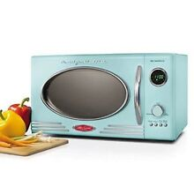 Aqua Retro Microwave Oven Countertop  0 9 Cu Heat Warm Up Food Kitchen Metal