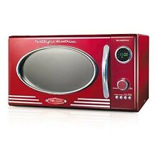 Red Microwave Oven Countertop 0 9 Cu Heat Warm Up Food Kitchen Metal Retro Style