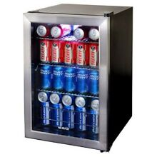 Beverage Mini Cooler Refrigerator Small 90 Can Fridge Glass Door Soda Beer Wine