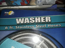 6  Stainless Steel Washing Machine Fill Hose 2 pack with Rubber Washers