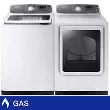 Samsung 5 2CuFt Top Load Washer 7 4CuFt GAS Dryer Multi Steam Technologyin White