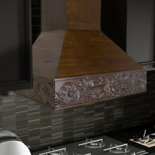 ZLINE 42 in  Wooden Wall Mount Range Hood in Walnut   Includes 1200 CFM Motor