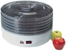 Elite Gourmet 5 Tray Adjustable Stackable Electric Dryer Food Dehydrator White