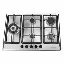 Ancona 30 in  Gas Cooktop in Stainless Steel with 5 Burners including Triple