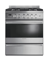 Fisher   Paykel 30  Freestanding Gas Range Stainless Dual Burners OR30SDBMX1