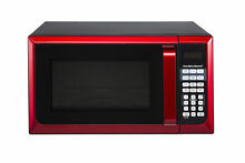 Microwave Oven Red 0 9 Cu Ft Stainless Steel 900W 10 Power Levels LED Display