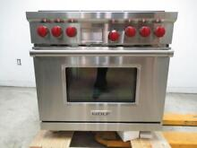 NIB Wolf 36  5 4 cu  ft  Dual Convection Oven SS Pro Style Dual Fuel Range DF366