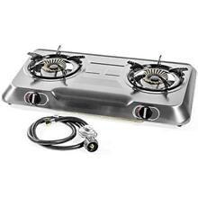 Deluxe Propane Gas Range Stove 2 Burner Stainless Steel Cooktop Auto Ignition
