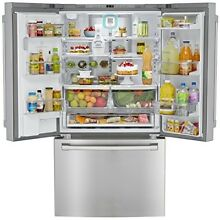 French Door Refrigerator Stainless Steel Counter Depth Bottom Freezer 23 7 Cu Ft